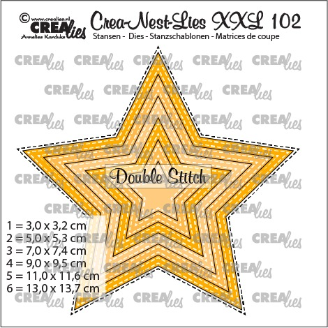 Crea-Nest-Lies XXL dies no. 102, Star with double stitchline (6x)