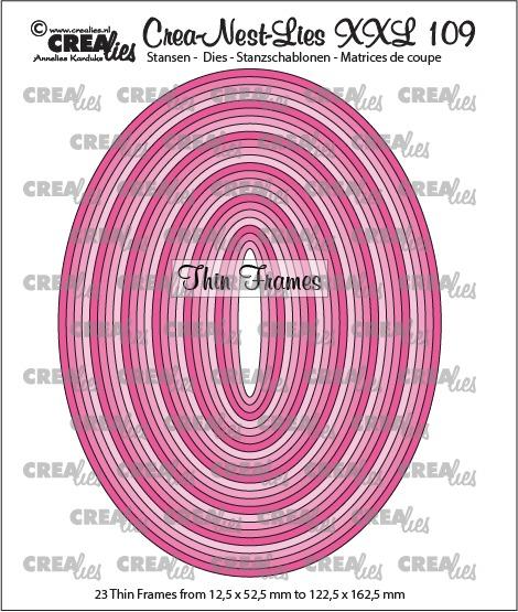 Crea-Nest-Lies XXL stansen no. 109, Dunne kaders, ovalen (23x)