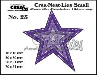 Crea-Nest-Lies Small stansen no. 23, Asymmetrische ster met dubbele stippenlijn (4x)