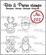 Bits & Pieces stempel no. 222, Mini rendier, kerstman, sneeuwpop, pinguïn