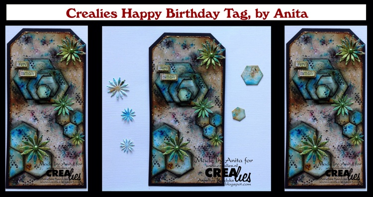 20 08 27 Crealies Mixed Media Happy Birthday Tag, by Anita