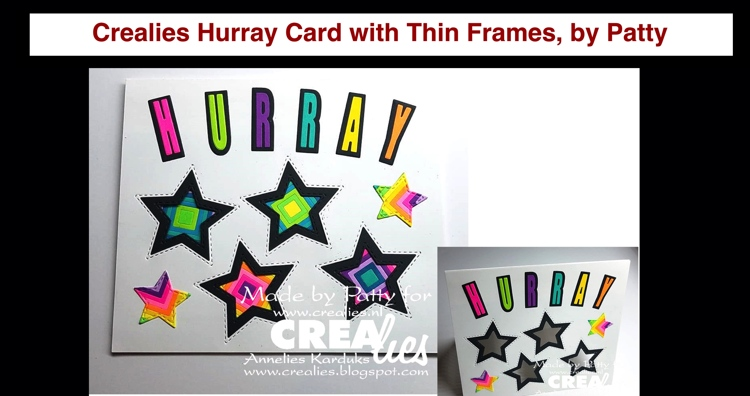 20 09 08 Crealies Hurray Card with Thin Frames, by Patty