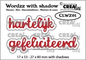 Wordzz stansen with shadow no. 01, hartelijk gefeliciteerd