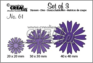Set of 3 no. 61, Bloemen 26 (dicht)