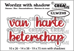 Wordzz stansen with shadow no. 03, van harte beterschap