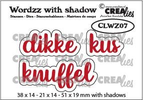 Wordzz stansen with shadow no. 07, NL: dikke kus/knuffel