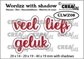 Wordzz stansen with shadow no. 08, NL: veel liefs/geluk
