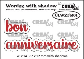 Wordzz stansen with shadow no. 01, FR: bon anniversaire