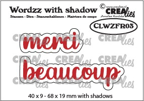 Wordzz stansen with shadow no. 03, FR: merci beaucoup