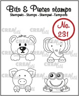 Bits & Pieces stamps no. 231, Mini's: bear, pig, frog, elephant