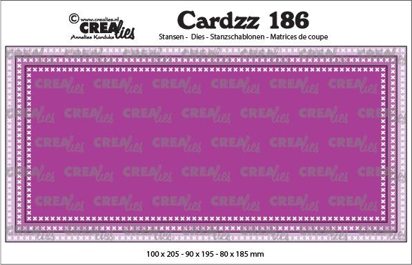 Cardzz stansen no. 186, Slimline F, met kruissteekjes