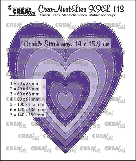 Crea-Nest-Lies XXL stansen no. 113, Slanke harten met dubbele stiksteeklijn