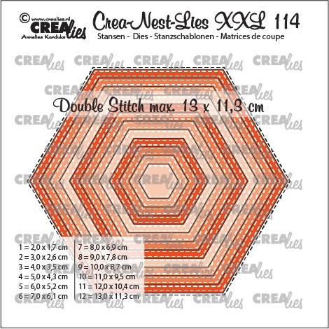Crea-Nest-Lies XXL stansen no. 114, Zeshoeken met dubbele stiksteeklijn