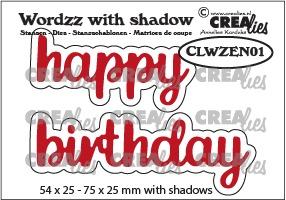 Wordzz stansen with shadow no. 01, EN: happy birthday