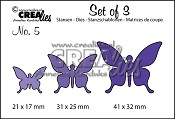 Set of 3 stansen no. 5 Vlinders 1 / Set of 3 dies no. 5 Butterflies 1
