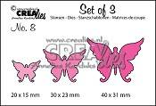 Set of 3 stansen no. 8 Vlinders 4 / Set of 3 dies no. 8 Butterflies 4