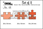 Set of 3 stansen/dies no. 18, Puzzelstukken / Puzzle pieces