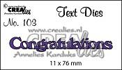 Text Die no. 103 Congratulations