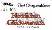 Text Stanzschablone no. 103 Herzlichen Glückwunsch