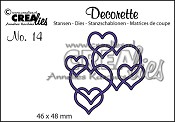 Decorette stans no. 14 In elkaar grijpende harten / Decorette die no. 14 Interlocking hearts