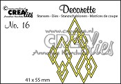 Decorette stans no. 16 In elkaar grijpende wybers / Decorette die no. 16 Interlocking diamonds