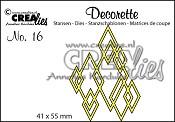 Decorette stans no. 16 In elkaar grijpende wybers / Decorette die no. 16 Interlocking diamonds