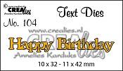 Text Die no. 104 Happy Birthday