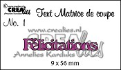 Matrice de coupe texte no. 1 Félicitations
