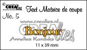 Matrice de coupe texte no. 5 Bonjour