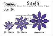 Set of 3 stansen/dies no. 36, Bloemen 18 / Flowers 18