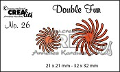 Double Fun stans no. 26 Gedraaide Zon / Double Fun die no. 26 Twisted Sun