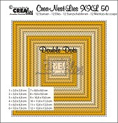 Crea-Nest-Lies XXL stansen/dies no. 50, Vierkanten met dubbele stippen/Squares with double dots