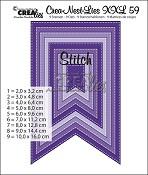 Crea-Nest-Lies XXL stansen/dies no. 59 Vaandels met stiksteeklijn/Fishtail with stitchline