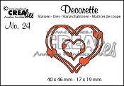 Decorette stans/die no. 24, Verstrengelde harten / Intertwined hearts