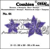 Combies stansen+stempels / dies+stamps no. 01, Bloemen A / Flowers A