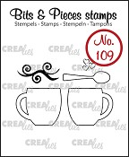 Bits & Pieces stempel/stamp no. 109, 2 mokken + lepel / 2 mugs + spoon