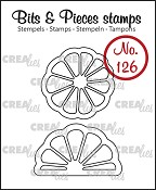 Bits & Pieces stempel/stamp no. 126, Citroen + sinaasappel plak / Slice of citron + orange