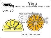 Partz stans/die no. 26, Citroen + sinaasappel plak/Slice of citron + orange