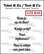 Tekst & Zo stempels, Mini tekst no. 3,  thee B (NL)