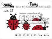 Partz stans/die no. 27, 4x Lieveheersbeestje / 4x Ladybug