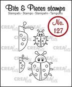 Bits & Pieces stempel/stamp no. 127, 4x Lieveheersbeestje / 4x Ladybug