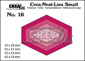 Crea-Nest-Lies Small stansen/dies no. 16, 4x platte zeshoek/4x flat hexagon