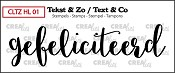 Tekst & Zo stempel, Handlettering no 1, Gefeliciteerd