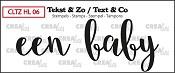 Tekst & Zo stempel, Handlettering no. 6, Een Baby