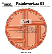 Patchworkzz stansen/dies no. 1, Patchwork met stiklijn in cirkel/Stitched patchwork in circle