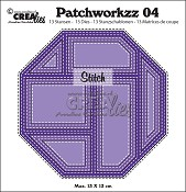 Patchworkzz stansen/dies no. 4, Patchwork met stiklijn in achthoek/Stitched patchwork in octagon