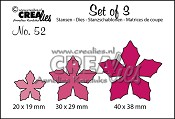 Set of 3 stansen/dies no. 52, Bloemen 23 / Flowers 23