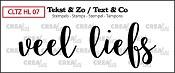 Tekst & Zo stempel, Handlettering no 7, Veel liefs, dicht
