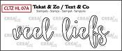 Tekst & Zo stempel, Handlettering no 7A, Veel liefs, omlijning
