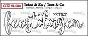 Tekst & Zo stempel, Handlettering no 8A, Prettige feestdagen, omlijning